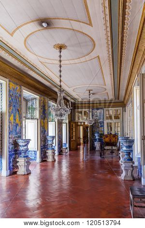 Queluz, Portugal - September 16, 2015: Mangas or Tiles Corridor in the Queluz National Palace, Portugal. Formerly used as the Summer residence by the Portuguese royal family.