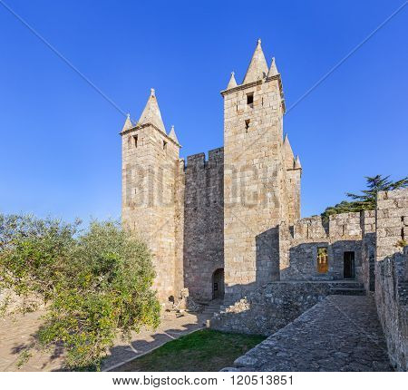 Santa Maria da Feira, Portugal - October 12, 2015: Bailey and keep of the Santa Maria da Feira Castle.