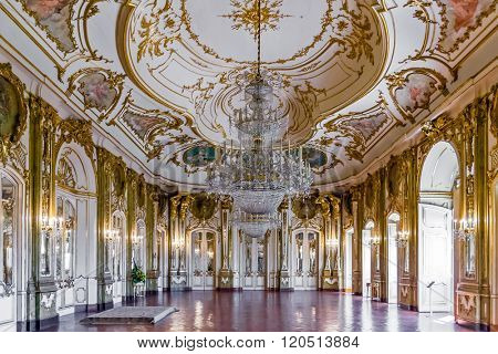 Queluz, Portugal - September 16, 2015: Throne room (Sala do Trono) in the Queluz Palace, Portugal. Formerly used as the Summer residence by the Portuguese royal family.
