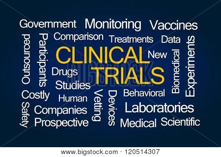 Clinical Trials Word Cloud on Blue Background