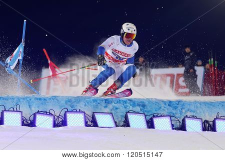 STOCKHOLM SWEDEN - FEB 23 2016: Mattias Hargin (SWE) skiing and jumping at the FIS Alpine Ski World Cup - city event February 23 2016 Stockholm Sweden