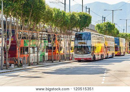 HONG KONG - APRIL 15, 2015: Citybus Limited busest at Hong Kong Airport. Citybus Limited mainly provides service on Hong Kong Island.