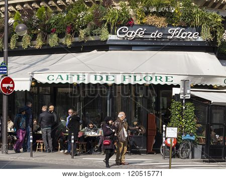 The Famous Cafe De Flore, Paris, France.