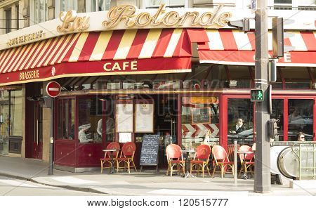 The Traditional French Cafe La Rotonde Trinite, Paris, France.