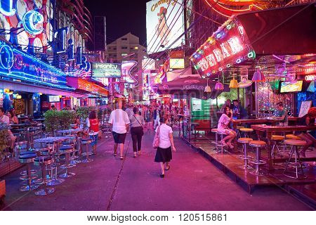 BANGKOK, THAILAND - JUNE 21, 2015: night clubs in Bangkok. Bangkok is the capital and the most populous city of Thailand.