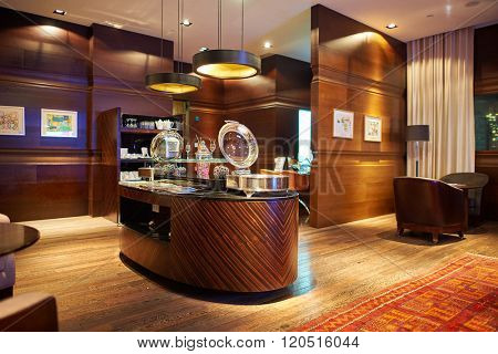 HONG KONG - MAY 31, 2015: interior of The Empire Hotel Hong Kong - Causeway Bay. The Empire Hotel Hong Kong - Causeway Bay is owned and managed by Asia Standard Hotel Group Ltd
