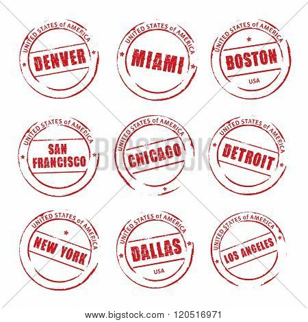 Red Vector Grunge Stamp, American Cities. Denver, Miami, Boston, Chicago, Detroit