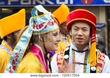 The Unidentified Participants Of Traditional New Chinese Year Parade In Paris, France.