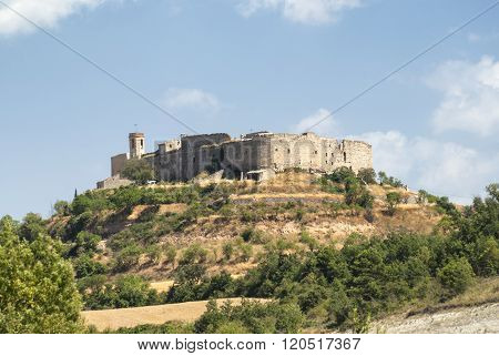 Montfalco Murallat, Historic Village In Catalunya (spain) On The Top Of A Hill