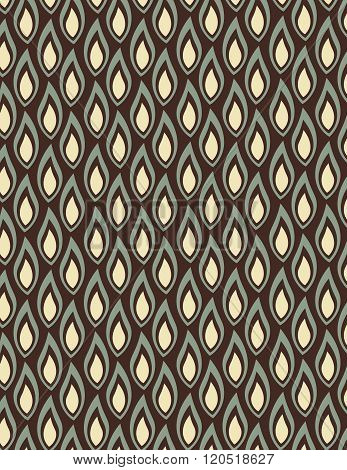 Green and tan flame shape pattern over black background