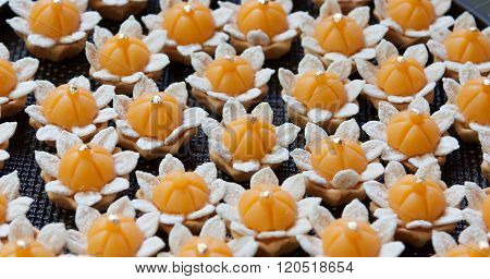 JaMongkut is a kind of crown-like yellow pastry mainly made of yolk and sugar