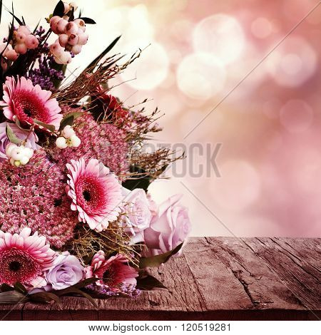 Greeting Card With Flowers Bouquet