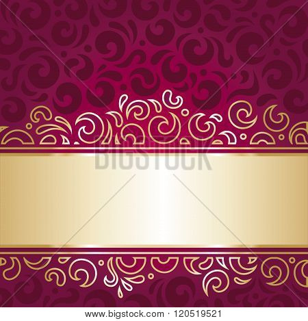 Royal red and gold  luxury vintage invitation design