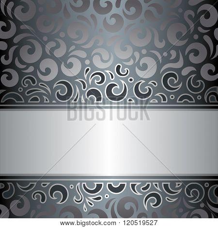 Silver luxury vintage invitation design vector