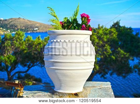 cycladic flower pot in Andors island Greece