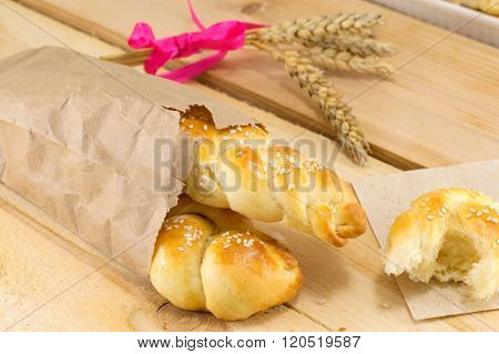 Homemade Braid Pastry In A Paper