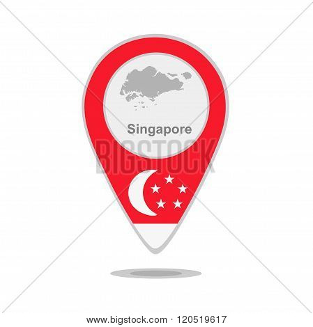 A pointer with map and flag of Singapore