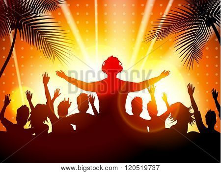 Summer beach party with dance silhouettes
