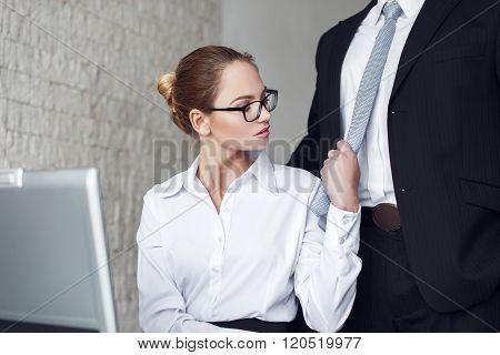 Sexy Secretary Undressing Boss In Office