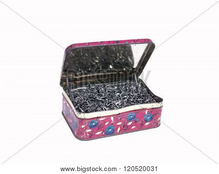 An Old Tin Box Full Of Shoe Nails