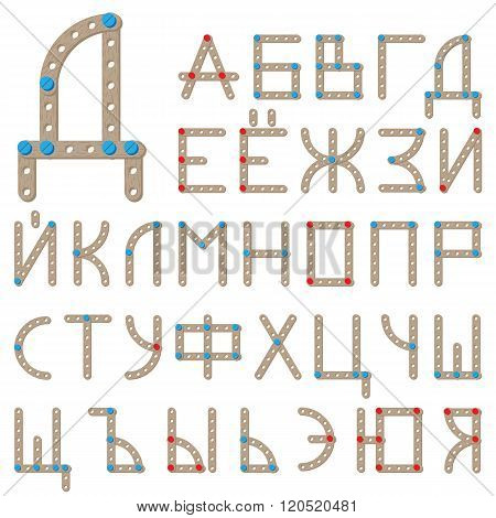 Russian alphabet made of wooden meccano