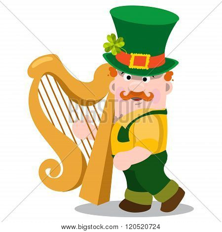 The man with the golden harp in a green suit. The festive character in cartoon style. Congratulation