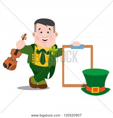 A man with a violin and a tablet in a green suit. The festive character in cartoon style. Congratula