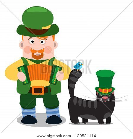A man with an accordion and a black cat. The festive character in cartoon style. Congratulations to