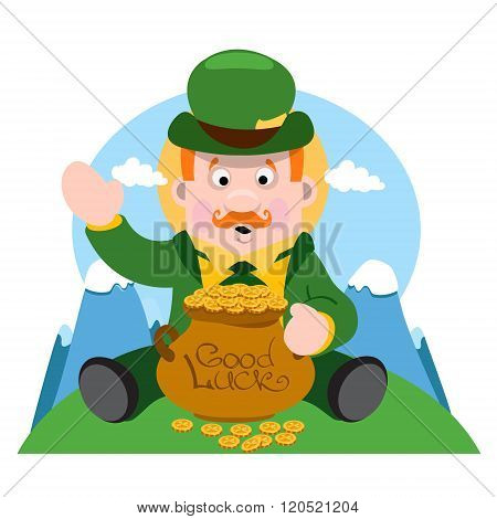 A man with a pot of gold. The festive character in cartoon style. Congratulations to the St. Patrick