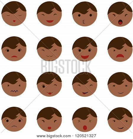 Set Of Cute Baby Emoticons. Cute Baby Faces Showing Different Emotions. Vector Icons On A White Back