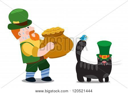 A man with a pot of gold and a black cat. The festive character in cartoon style. Congratulations to