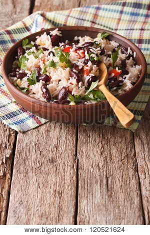 Rice With Red Beans And Other Vegetables In A Bowl. Vertical