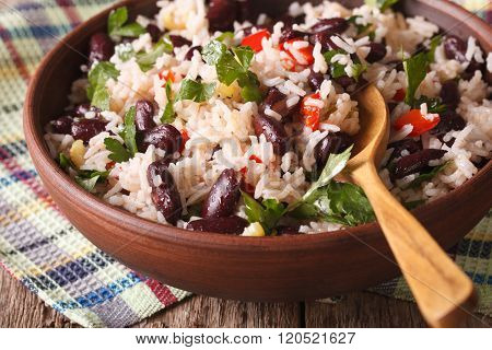 Rice With Red Beans And Other Vegetables Close-up. Horizontal
