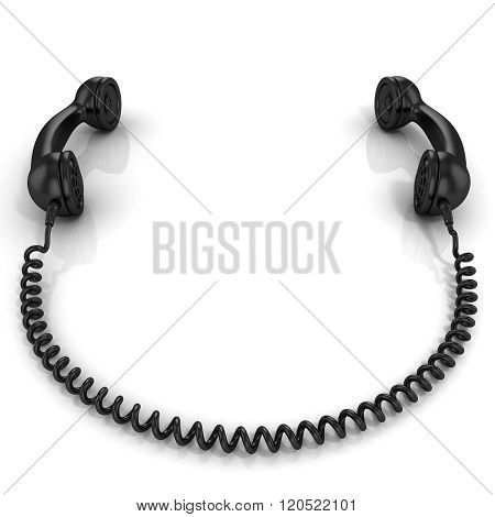 Black old fashion phone handsets connected isolated on white background