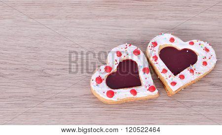 Heart Cookies On  Wood Table .