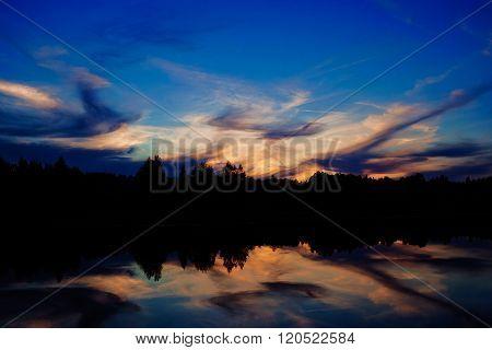 evening sky reflection