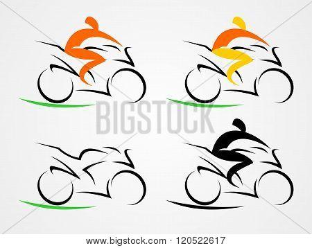 Three stylized motorcyclists
