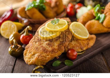 Chicken Schnitzel With Croquettes