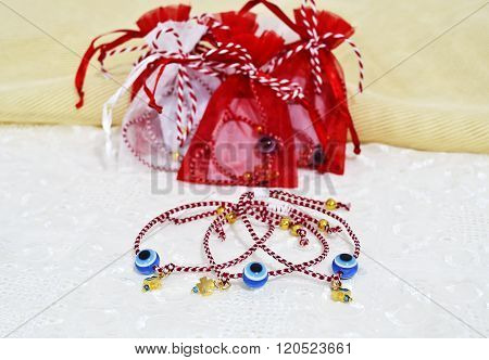 traditional greek march bracelets in red and white colors