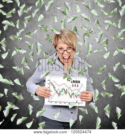 Businesswoman Holding Poster With Crisis Chart
