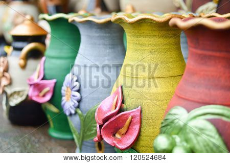 Ceramic Handycrafts Sold In The Shops Along The Main Road Of San Juan Oriente In The Highlands Betwe