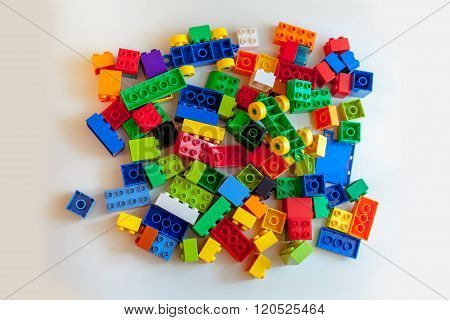 Colored constructor on white background