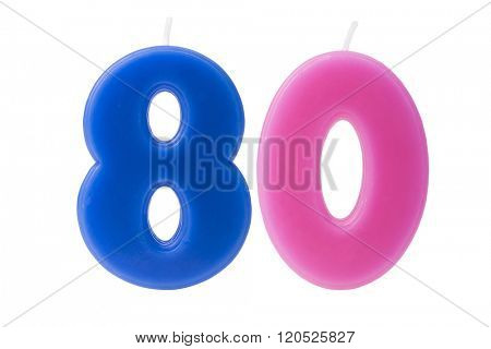 Colorful birthday candles in the form of the number 80 on white background