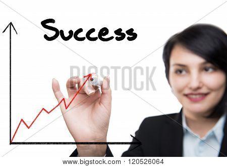 Businesswoman drawing rising graph high quality studio shot
