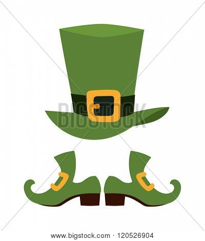 Green leprechaun hat vector illustration. Vector leprechaun shoes and bowler hat, St Patrick's Day element with green irish leprechaun hat. Leprechaun shoes vector symbol. Leprechaun shoes isolated