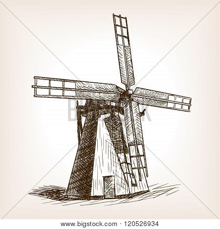 Windmill hand drawn sketch vector