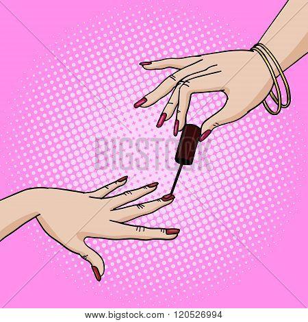 Hand paint nail pop art style vector