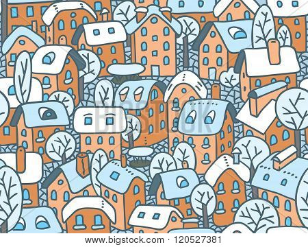 Seamless pattern with houses and courtyards