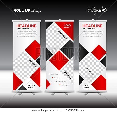 Red Roll Up Banner Template Vector Illustration Polygon Background