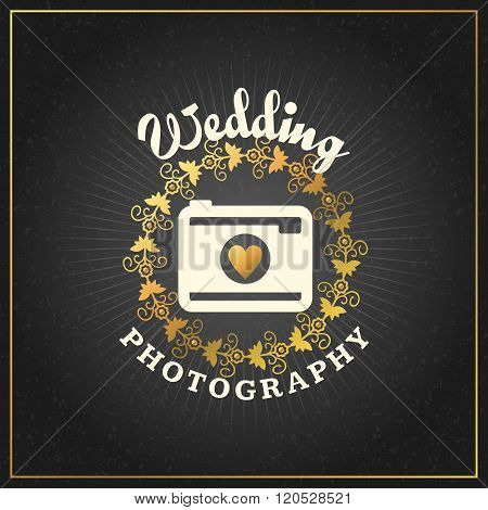 Photography Logo Design Template. Photography Retro Golden Badge. Wedding Photography